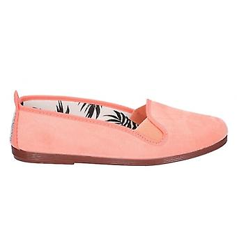 Flossy Dosier Ladies Canvas Slip On Plimsolls Coral