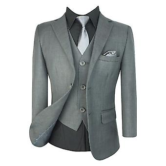 Boys All in One  Formal Grey 6 piece Suit sets