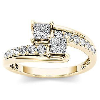 IGI certifié 14 k or jaune 5 / 8ct TDW diamant deux-Pierre bague de fiançailles (I-J, I2)