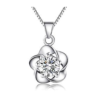 18k white-gold plated flower pendant necklace