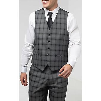 Dobell miesten harmaa liivit regular fit musta Multi-raita Windowpane Tarkista