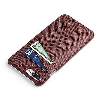 IPhone 8 PLUS,7 PLUS tapauksessa, tyylikäs deluxe käärme kuvio nahkakansi, ruskea
