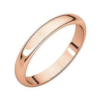 14k Rose Gold 3mm Half Round Band Ring  Jewelry Gifts for Women - Ring Size: 4.5 to 10