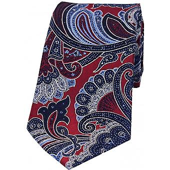Posh and Dandy Large Edwardian Paisley Silk Tie - Magenta/Blue/Green
