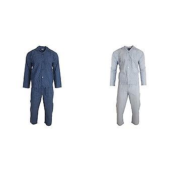 Harvey James Mens Square Pattern Satin Pyjama Set