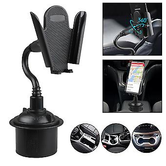 Universal adjustable gooseneck cup cradle car phone holder for cell phone gps (black)