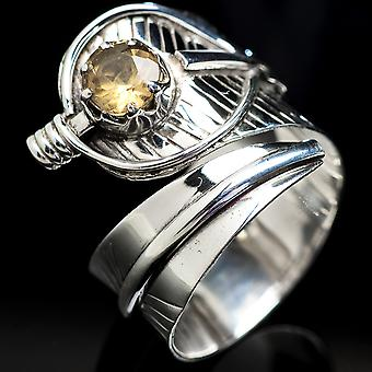 Faceted Citrine Ring Size 9 Adjustable (925 Sterling Silver)  - Handmade Boho Vintage Jewelry RING3643