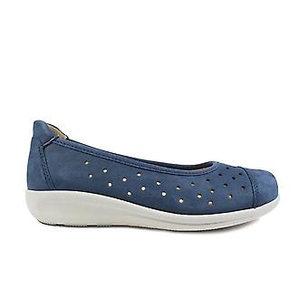 Easy B Rothwell 2V Navy Leather Womens Wide Fit Slip On Ballet Pump Shoes