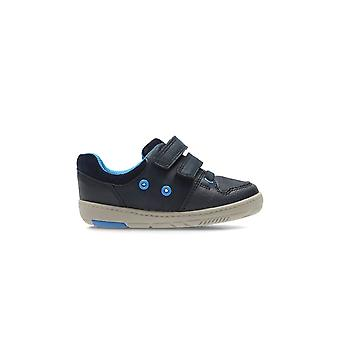 Clarks Tolby Boo Navy Leather Boys Primeros Zapatos