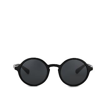 Dolce & Gabbana Rounded Sunglasses In Solid-Coloured Acetate With Dg Gold Print