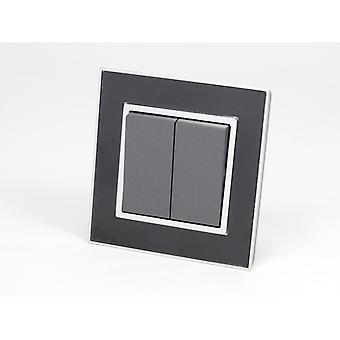 I LumoS AS Luxury Black Mirror Glass Single Frame 2 Gang 2 Way Rocker Light Switches