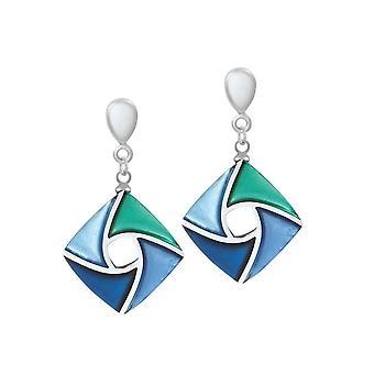 Ikuinen kokoelma leija vihreä ja sävyt sininen hopeoitu hartsi pudota clip korvakorut