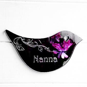 Floral Dove Acrylic Mirror Door or Wall Sign - NANA