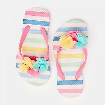 Joules Jnr Flip Flop Filles Sandals White Pastel Stripe