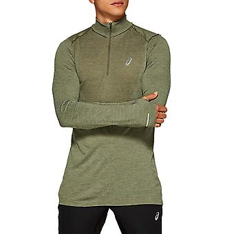 Asics Mens Seamless Long Sleeve 1/2 Zip Running Fitness Shirt Top Green