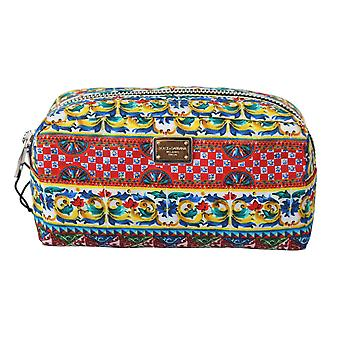 Nylon multicolor majolica toiletry pouch hand purse bag