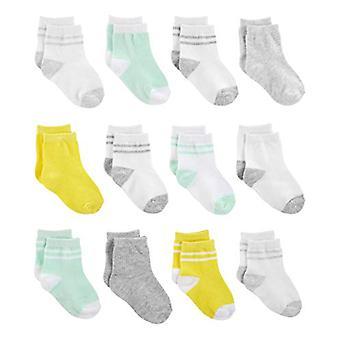 Einfache Freuden von Carter's Baby 12-Pack Socken, gelb/grau/Mint, Größe 12-24 Monate
