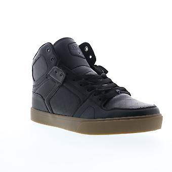 Osiris NYC 83 VLC DCN  Mens Black Leather Lace Up Athletic Skate Shoes