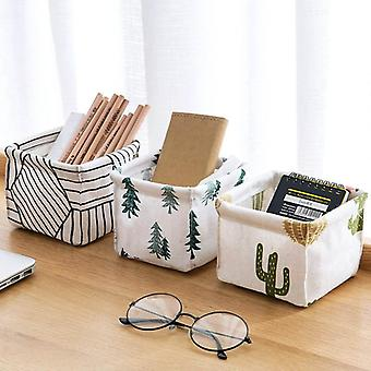 Multifunction Foldable Printied Cosmetics Container Sundries Storage Basket With Cotton Linen