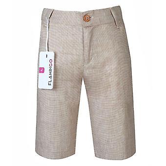 Boys Summer Linen Short in Salmon Pink