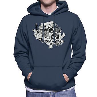 Rover V8 Engine Design British Motor Heritage Men's Hooded Sweatshirt