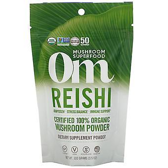 Om Mushrooms, Reishi,  Certified 100% Organic Mushroom Powder, 3.5 oz (100 g)
