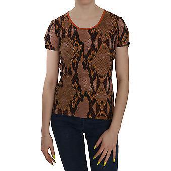 スネークスキンプリント半袖トップTシャツ -- TSH3737968