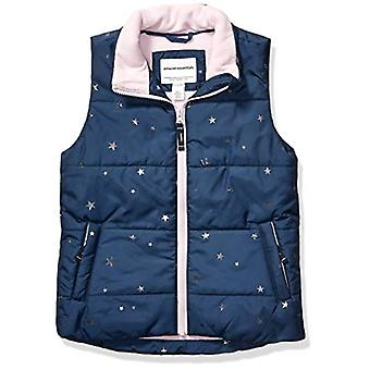 Essentials Girls' Big Heavy-Weight Puffer Vest, Navy with Foil Stars, ...