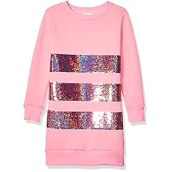 Brand - Spotted Zebra Girl's French Terry Long-Sleeve Dresses, Pink Se...