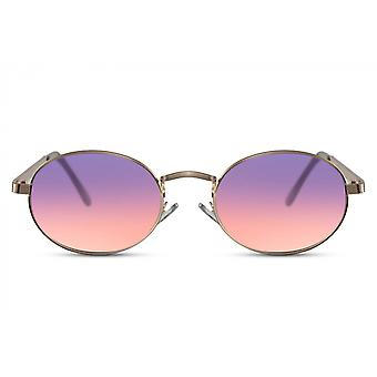 Sunglasses unisex oval full framed cat. 3 gold/pink