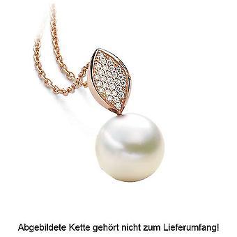 Luna-Perlas - Colgante Brillante - Oro Rosa 585/- Agua dulce-ZP 10-11 mm 2040506