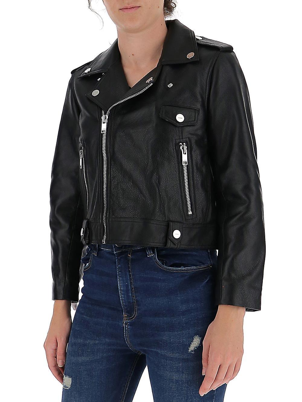 Ganni F4807099 Women's Black Leather Outerwear Jacket