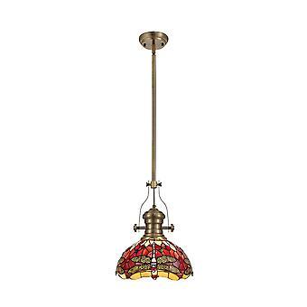 Iluminación luminosa - 1 light telescópico techo colgante E27 con 30cm Tiffany Shade, latón antiguo, púrpura, rosa, cristal