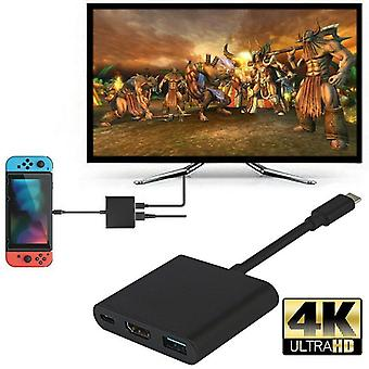 4k Hdmi Adapter For Switch Type C Usb To Hdmi Converter Dock Cable (black)