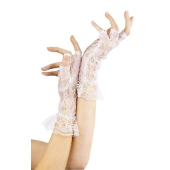White Lace Victorian Fingerless Gloves 80s Fancy Dress Costume Accessory
