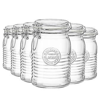 Bormioli Rocco Officina 1825 Glass Storage Jar with Airtight Clip Lid - 1 Litre - Pack of 6