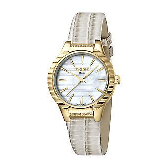 Ferre Milano Women's FM1L114L0011 MOP Dial  Gold IP Steel Ivory Leather Watch