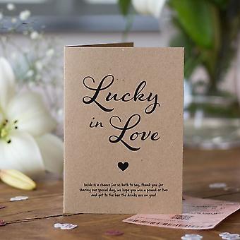 KRAFT BROWN heldig i kjærlighet lotteriet Scratch kortholdere sett med 6 rustikk