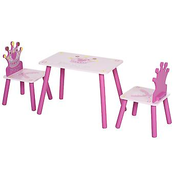 HOMCOM 3-Piece Kids Princess & Crown Chair Table Set Home Furniture Tea Party Playtime Pretty Fun Gift 2-5 Years Pink