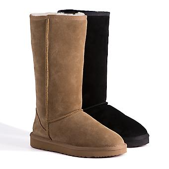 Aus Wooli Ugg Water-Resistant Unisex Genuine Au Sheepskin Tall Zip-Up Wool Boots
