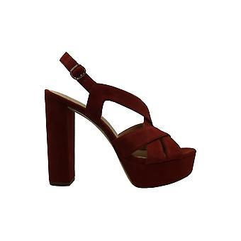 Michael Kors Womens AUDRINA PLATFORM Leather Peep Toe Ankle Strap Platform Pu...