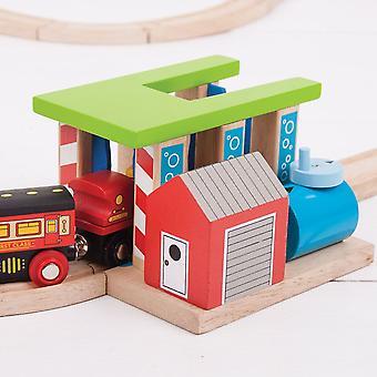 Bigjigs Tåg Bricka Trä Tåg Set Tillbehör
