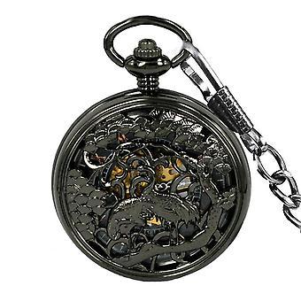 JIJIA JX014 Kran Muster Hohl schwarz Bronze mechanische Taschenuhr