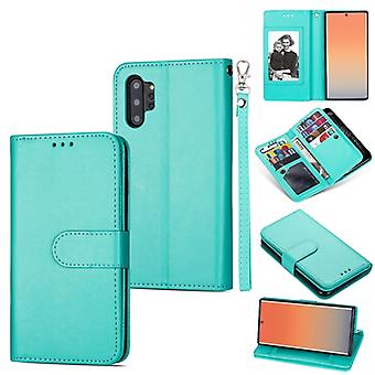 For Samsung Galaxy Note10+ Ultra-thin 9 Card Horizontal Flip Leather Case, with Card Slots & Holder & Lanyard(Green)