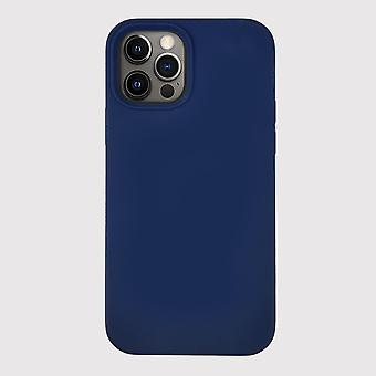 Blue iphone 12 pro silicone case with magnetic ring for magsafe wireless charging