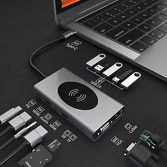 14 In 1 Usb-c Hub Dual Hdmi Rj45 Vga Wireless Charging Usb-hub 3.0 Adapter Dock
