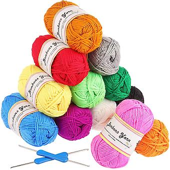 Fuyit double knitting yarn 12x50g 100% acrylic with 2 crochet hooks 1200 meters balls of assorted dk