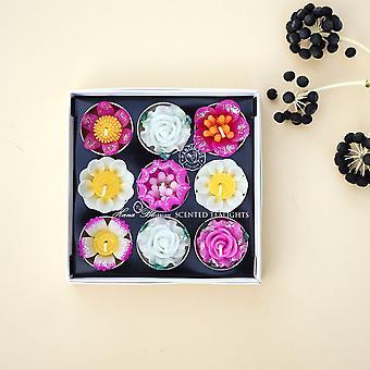 Big Assorted Glitter Flower Scented Tealight Set
