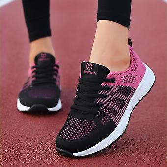 נשים נעליים שטוחות, קזו'אל נשים שרוכים רשת נושמת נעלי ספורט