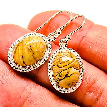 "Picture Jasper Earrings 1 1/4"" (925 Sterling Silver)  - Handmade Boho Vintage Jewelry EARR408853"